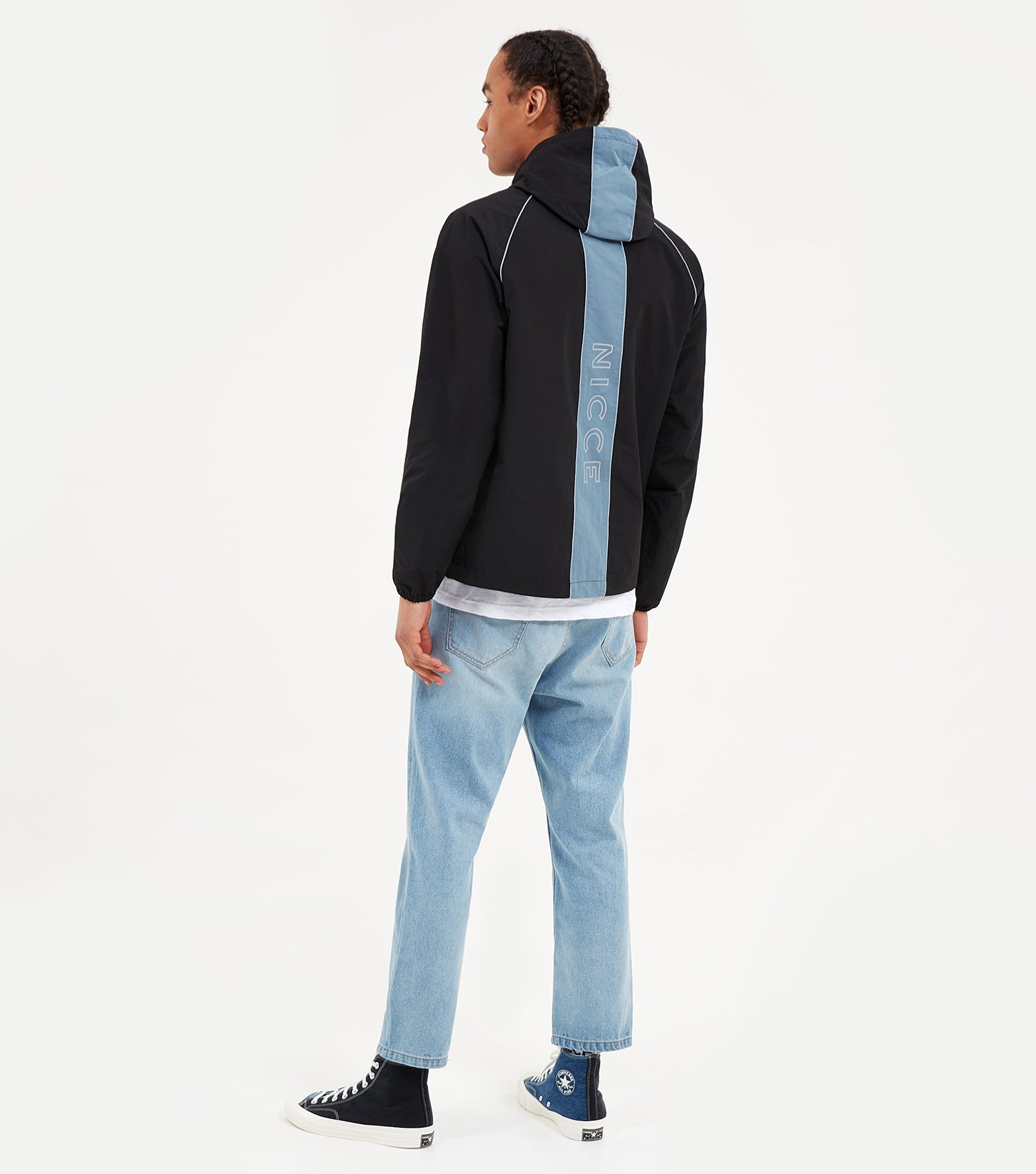 NICCE Mens Linear Jacket | Black/Blue Mirage, Outerwear