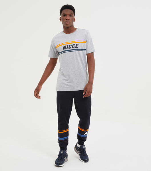 NICCE Mens Border T-Shirt | Light Grey Marl, T-Shirts