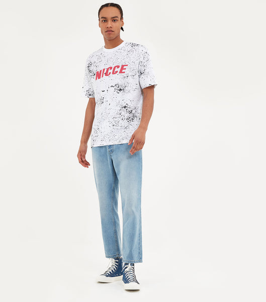 Nicce Mens Speckle T-Shirt | White/Black, T-Shirts