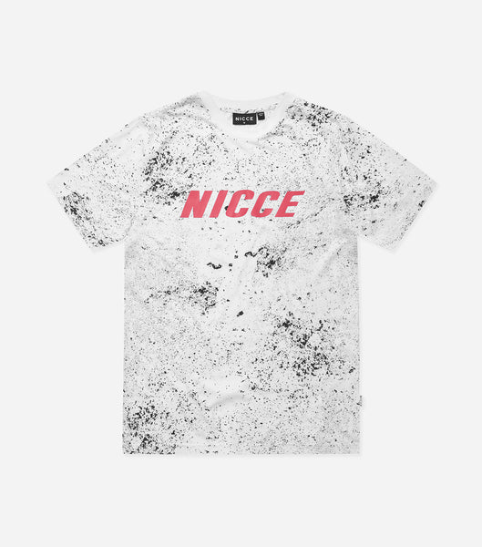 Nicce Mens Speckle T-Shirt | White/ Black, T-Shirts