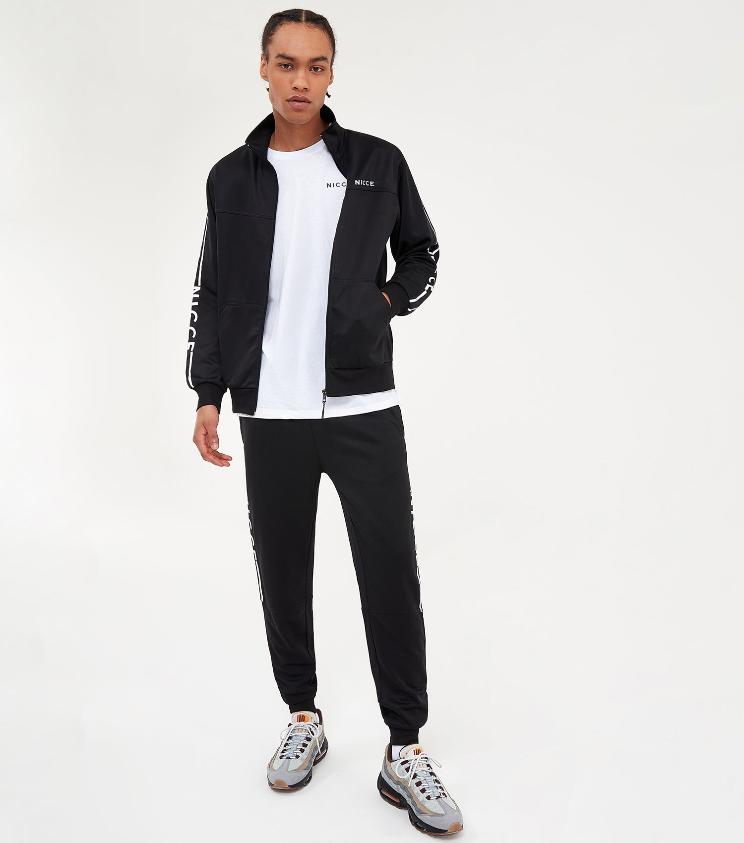Nicce Mens Vertex Track Top | Black, Tops