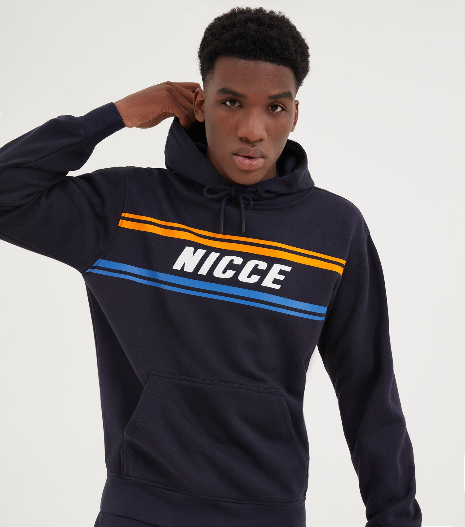 NICCE Mens Border Hood  | Deep Navy, Hoodies