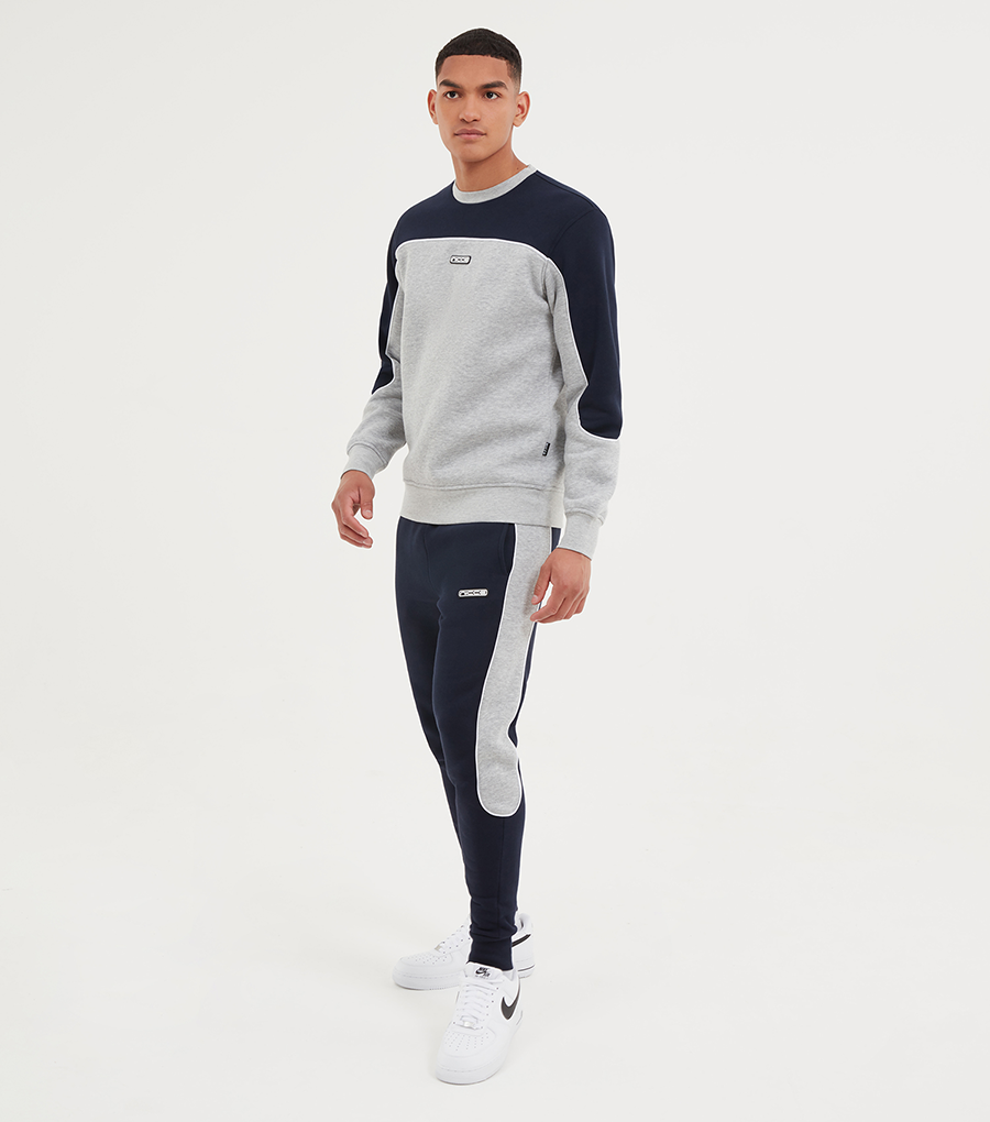 NICCE Mens Ark Sweat | Deep Navy/ Light Grey Marl