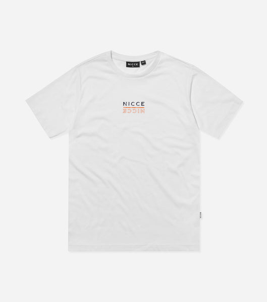 Nicce Mens Mirage T-Shirt | White/ Yellow