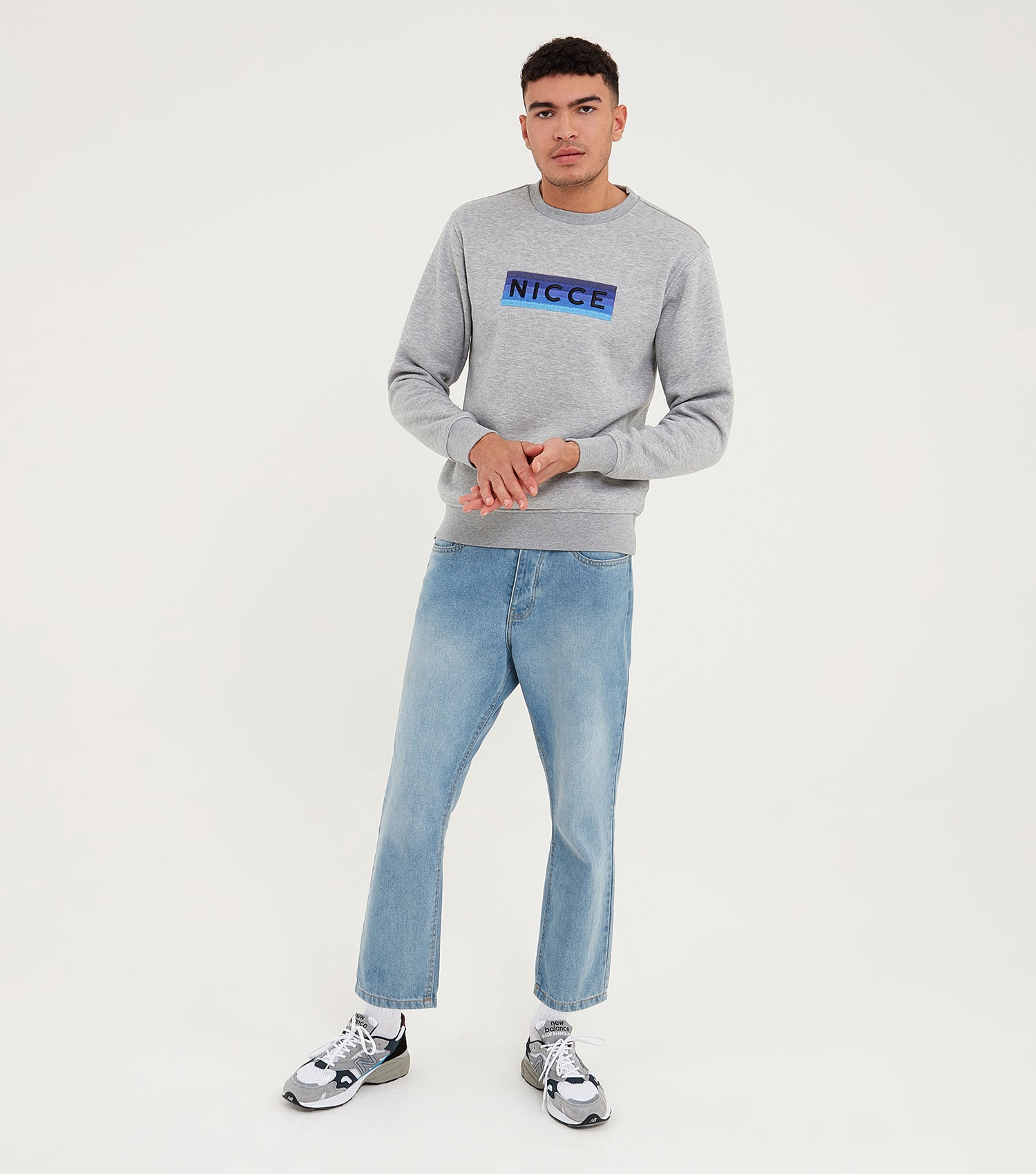 Nicce Mens Alto Sweat | Light Grey Marl