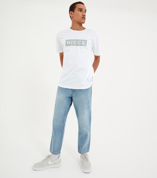 Nicce Mens Emblem T-Shirt | White/ Spearmint
