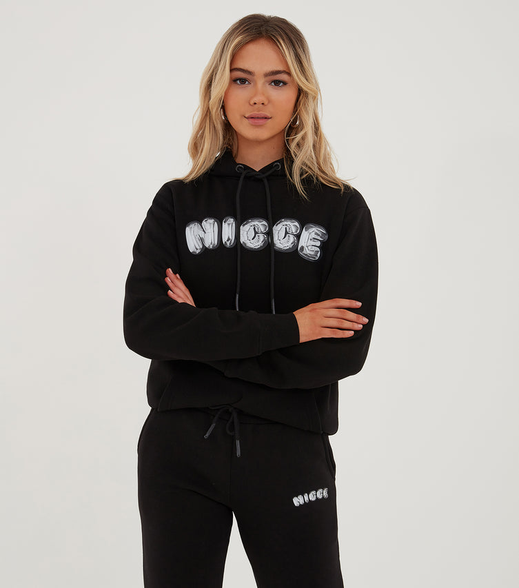Nicce Womens Lenz Flared Jogger | Black/ Silver