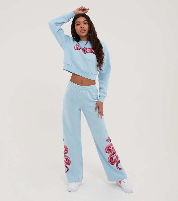 Nicce Womens Caddel Cropped Sweat | Cerulean/ Diva Pink