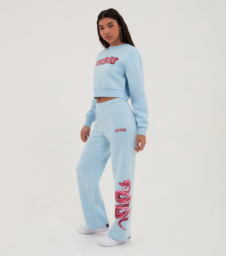 Nicce Womens Caddel Straight Leg Jogger | Cerulean/ Diva Pink