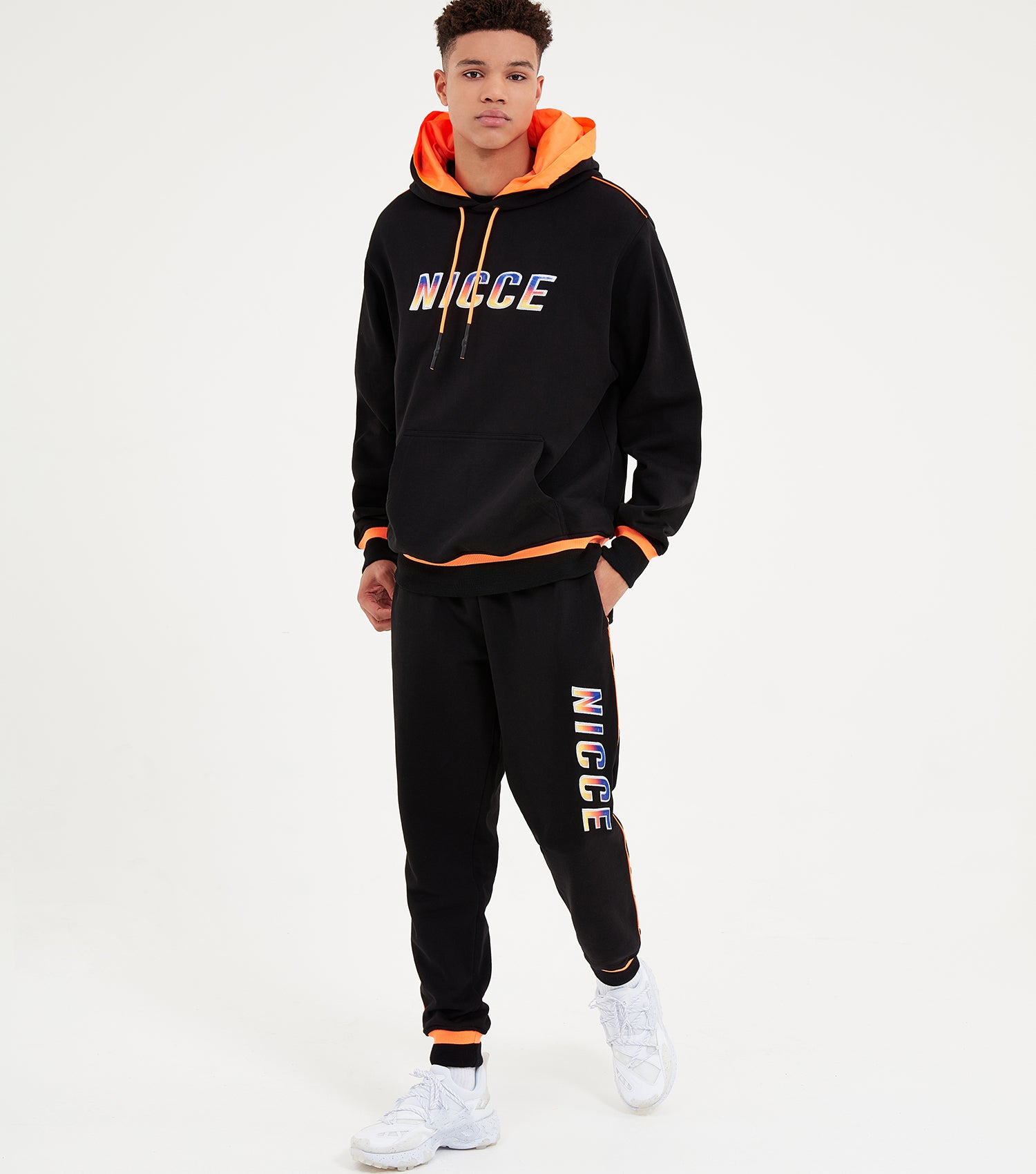 Nicce Mens Avalon Hood | Black/Orange Clownfish, Hoodies