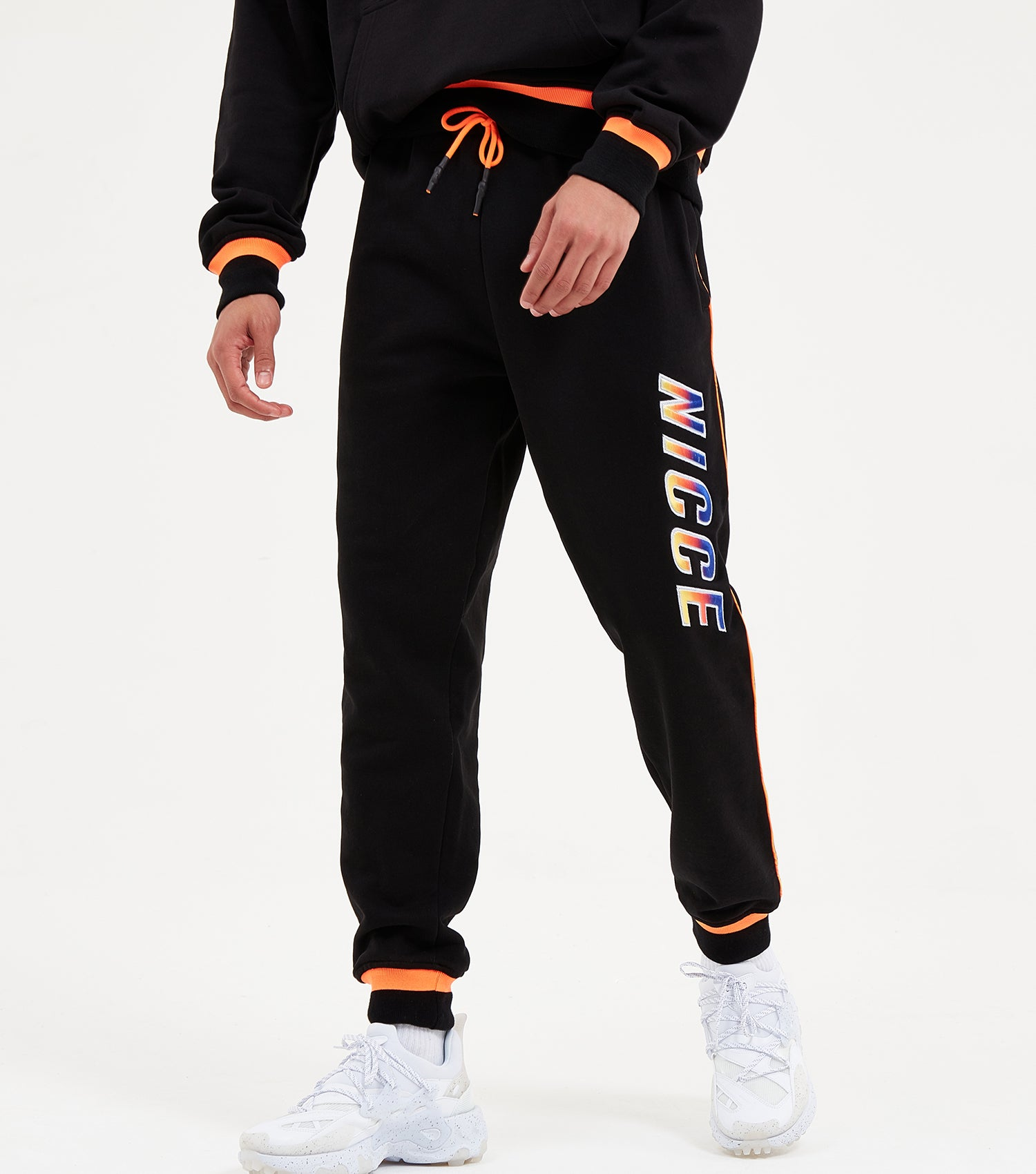 Nicce Mens Avalon Joggers | Black/ Orange Clownfish, Joggers