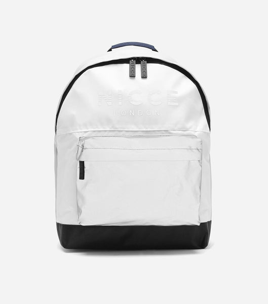 Reflective and white backpack featuring an external front zipped pocket, NICCE woven logo badge, repeated logo lining, padded adjustable straps, and a reinforced grab handle.   (photo taken with flash, Outer lining, zip pocket and logo in reflective material)