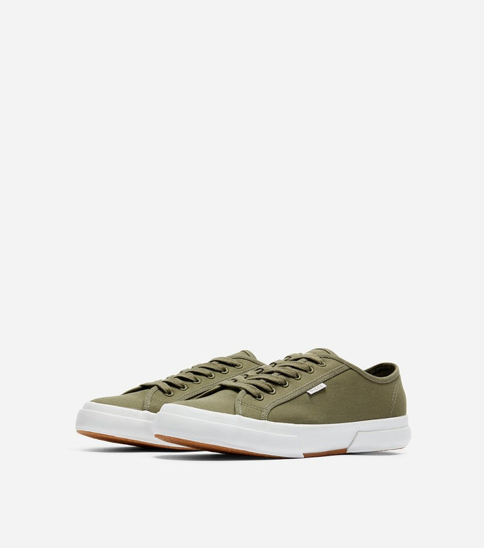 Affleck trainer in sage.  Features casual style in a classic casual trainer, canvas material, low ankle, woven laces, thick rubber vulcanised sole, Nicce tag branding.