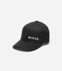 NICCE air cap in black. Features small filled embroidered logo, cotton canvas compition, internal branding and debs NICCE clasp.
