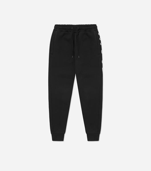 Bower joggers in black. Features slim fit, classic shape, large embroidered branding, pockets, elasticated waistband. Pair with Bower hood.