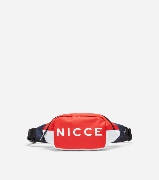 NICCE blitz bum bag in navy. Features printed logo, woven label, front pocket, rubber zips and branded lining.