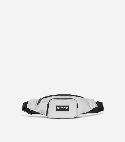 Reflective bum bag with NICCE woven label & repeated logo lining, front zip pocket, NICCE logo badge and adjustable strap.
