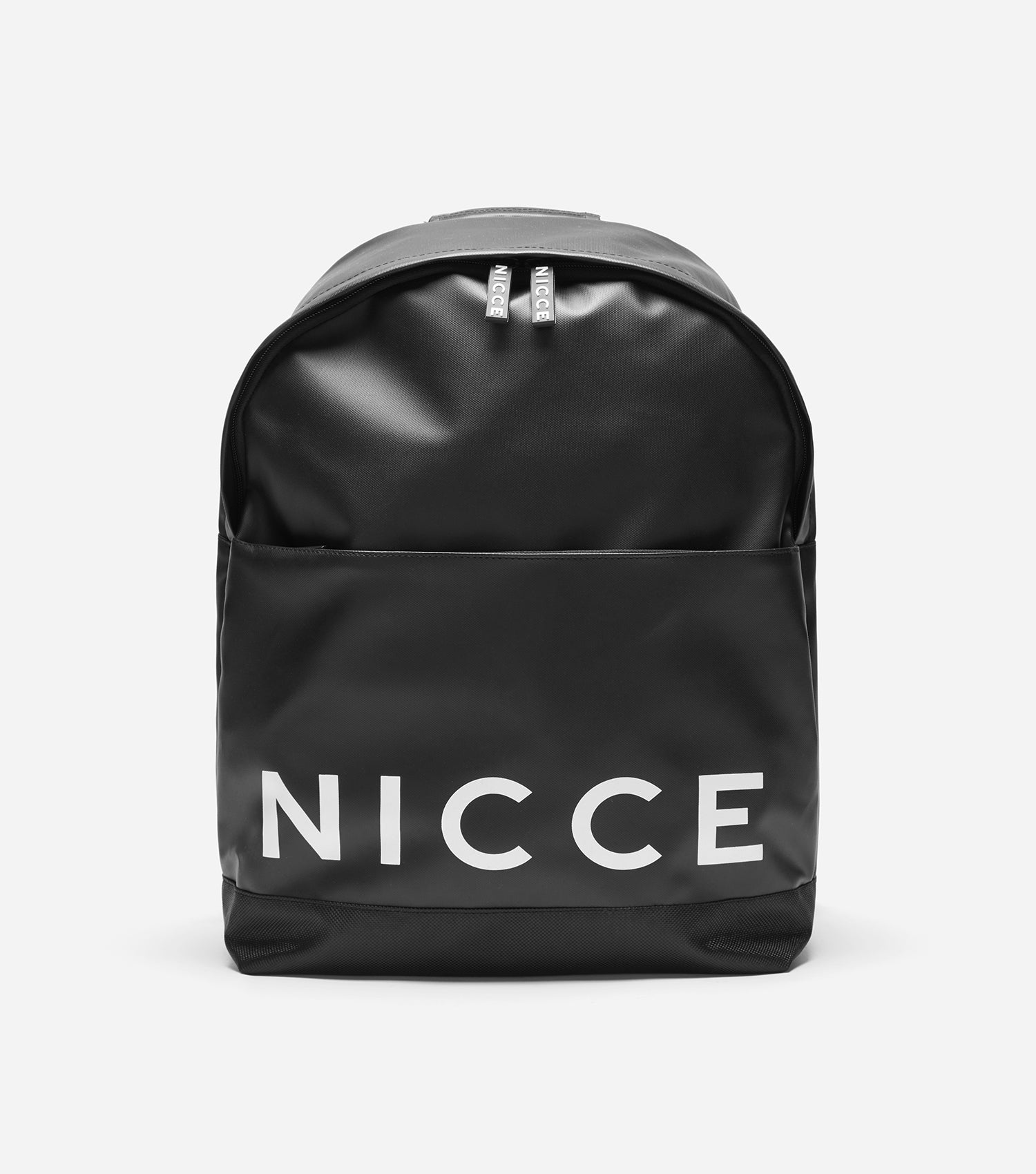 Cain backpack in black. Featuring interior laptop sleeve, large print logo, tonal rubber zip pullers, large front pocket, branded NICCE cross grain, padded base and panel.