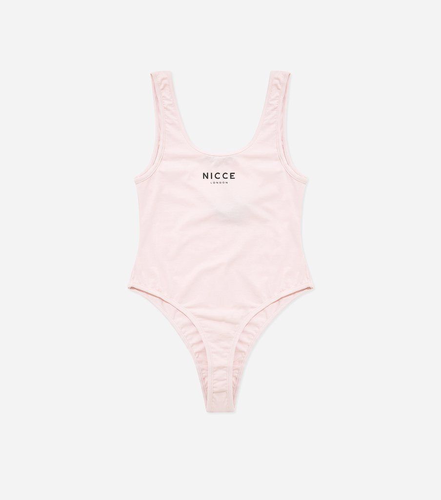 A simple piece  to brighten up your summer wardrobe. This pink bodysuit features a scoop neckline, low back and the NICCE logo in black. Pair with skirts or jeans for a relaxed look.