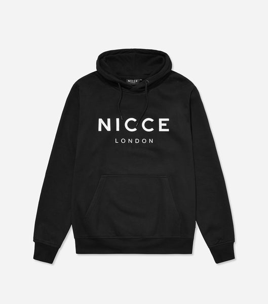 This black hoodie features the NICCE logo on the chest. A pullover hoodie with an overhead hood style with drawstrings, pouch pocket and an oversized, comfortable fit.