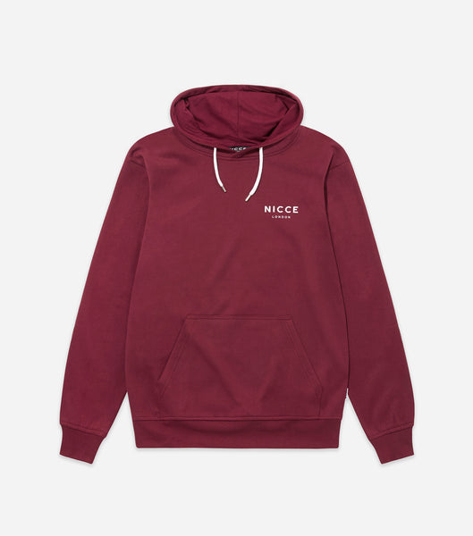 NICCE London Mens Original Chest Logo Hood | Burgundy, Hoodies