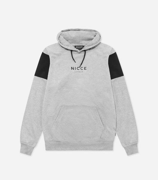 Ela hood in Grey. Features printed logo, hood with drawstrings, black panelling, front pocket, elasticated cuffs and hem. Pair with Ela joggers.