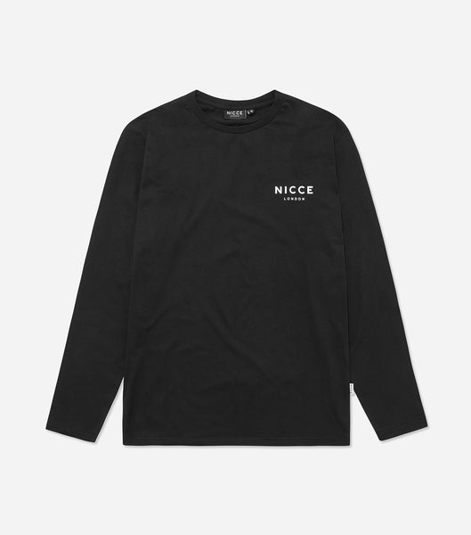 London mens chest logo long sleeve t-shirt in black. Features crew neck, printed NICCE london logo and long sleeves.