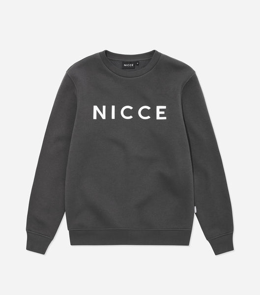 This coal sweatshirt is made from a soft cotton mix and features the classic NICCE logo across the front. A casual, comfortable fit with a round neckline and long sleeves makes this sweatshirt a great layering piece, essential for every wardrobe. Pair with jogger.