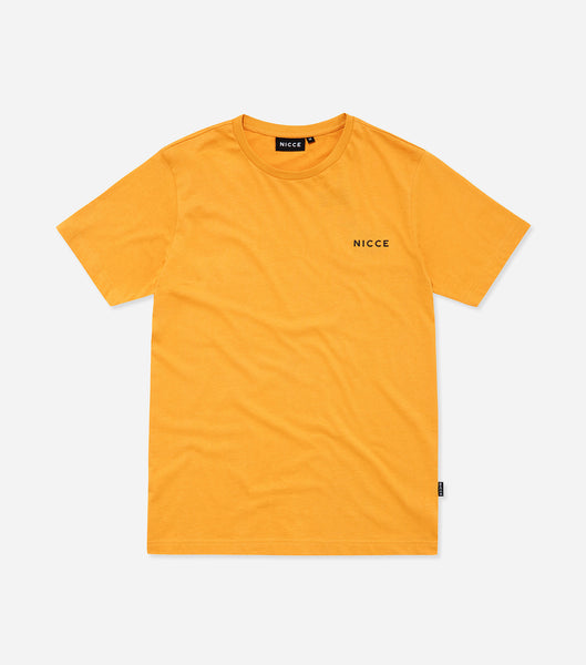 NICCE chest logo short sleeve t-shirt in yellow. Features, Crew Neck, short sleeves and NICCE chest logo. Pair with joggers.
