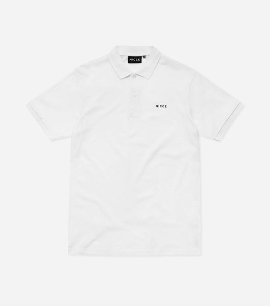 Core polo shirt in white. Features classic pique fabric, button up front, flat knit collar, short sleeves with printed chest logo. Pair with denim.