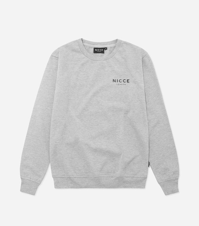 This grey sweatshirt is made from soft cotton mix featuring the NICCE logo on the front. A casual fit, it has round neckline and long sleeves, a great layering piece, essential for every wardrobe.