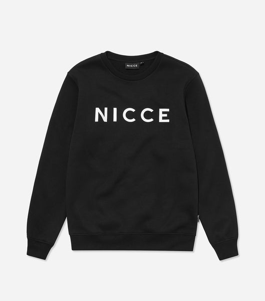 A sweatshirt from our original collection, featuring the NICCE centre chest logo, crew neck and cuffed sleeves and hem. A simple and easy piece, great to layer and throw on with jeans or joggers.   Details:  Black Crew neck 50% cotton, 50% polyester Machine Washable #NICCE