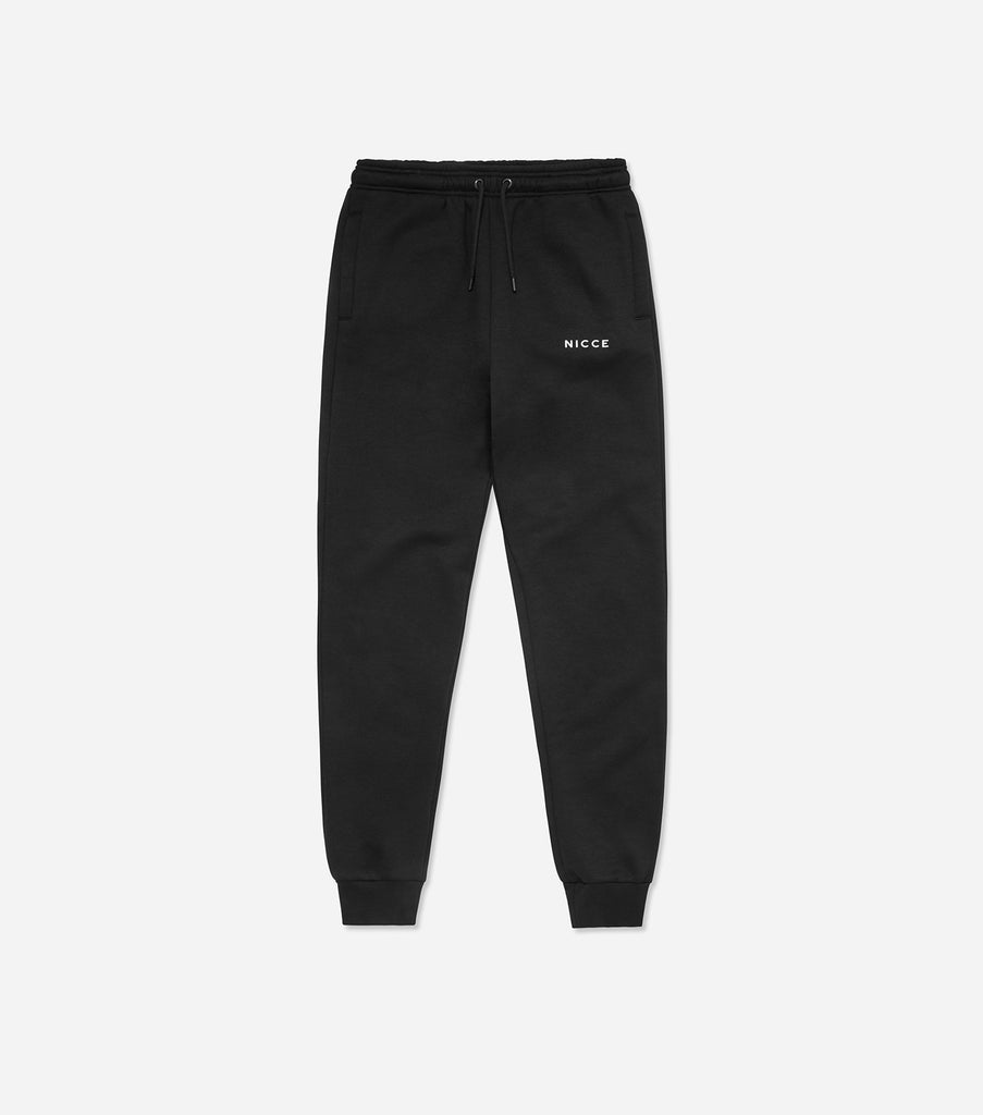 Black joggers made from soft cotton mix featuring the NICCE logo on the left leg. A tapered fit, it has an elasticated waist with drawcord, side pockets and ankle cuffs. Wear with matching hood