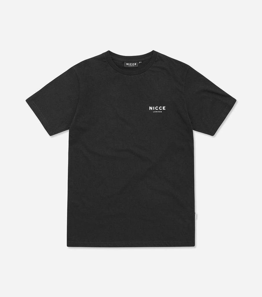This black top features the small classic NICCE London logo across the chest. A short-sleeved t-shirt is a style staple for any wardrobe and can be paired with jeans or joggers for casual comfort.