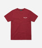 This essential short-sleeved t-shirt in burgundy is made from lightweight and comfortable fabric. It has a relaxed fit and features the NICCE original chest logo. A piece that can be worn on its own or as an easy extra layer.