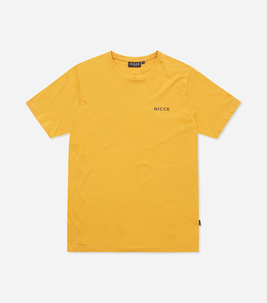 Chest logo t-shirt in golden yellow. Features crew neck, short sleeves and printed chest logo.
