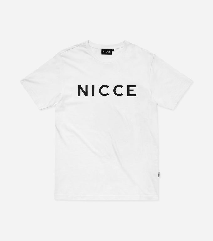 This white top features the large classic NICCE London logo across the chest. A short-sleeved t-shirt is a style staple for any wardrobe and can be paired with jeans or joggers for casual comfort.