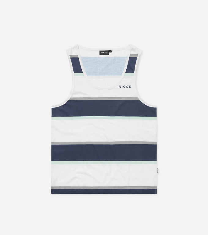 Colum vest in white. Crew neck, regular fit, classic vest shape, stripes in navy mint and white. Pair with joggers or denim.