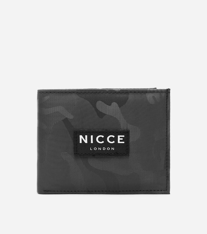 Camo bi-fold wallet with box with NICCE woven label & repeated logo lining