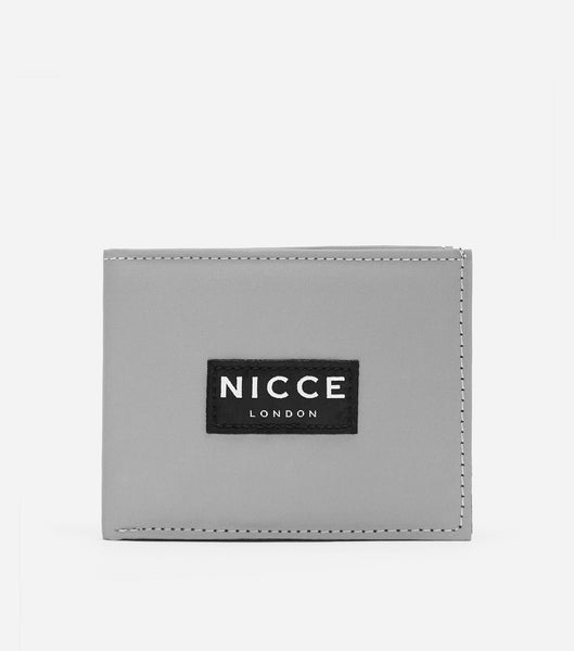 Reflective bi-fold wallet with box with NICCE woven label & repeated logo lining.