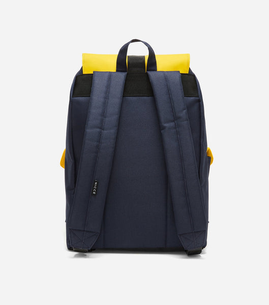 Hervi drawstring backpack in yellow. Features drawstring, front flap, badge branding, two front pockets, two padded straps and a handheld strap.
