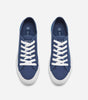 Kansas Trainer in navy. Featuring canvas upper, tight woven, tear resistant fabric, lace up fastening, contrast rubber sole detailing in blue, logo detail, chunky sole, moulded tread, clean with a damp cloth, low maintenance everyday footwear.