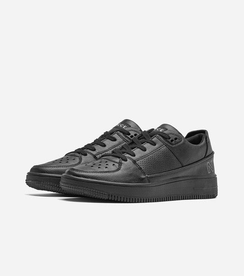 Kendrick trainer in black. Featuring lace-up fastening, padded for comfort, NICCE logo, chunky sole, moulded tread, wipe to clean, designed for a low maintenance lifestyle, faux leather upper, looks real but it's not.  Details: Black Trainer  Chunky Sole Sole: 100% Rubber, Upper: 90% Polyurethane, 10% Textile. #NICCE