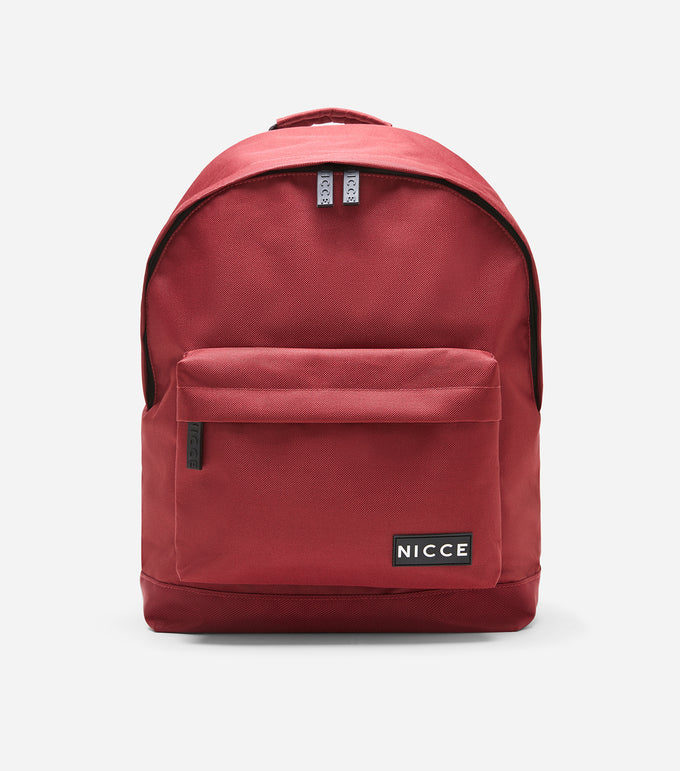 NICCE kait backpack in merlot. Features rubber NICCE label, woven label branded straps, lining and rubber zips.
