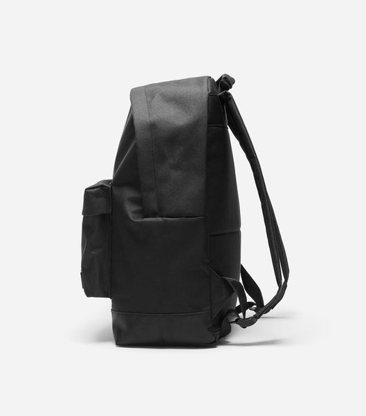 NICCE kait backpack in black. Features rubber NICCE label, woven label branded straps, lining and rubber zips.