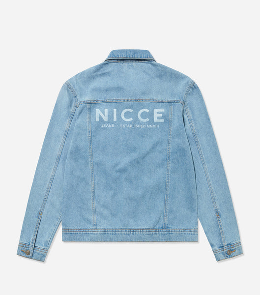 NICCE Mens London Denim Jacket | Stone Blue Wash, Outerwear