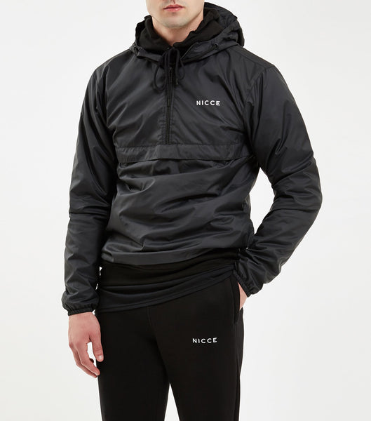 Core cagoule in black. Features printed pocket logo, 1/4 zip, lightweight fabric, drawstring hood and hem. Pair with joggers.