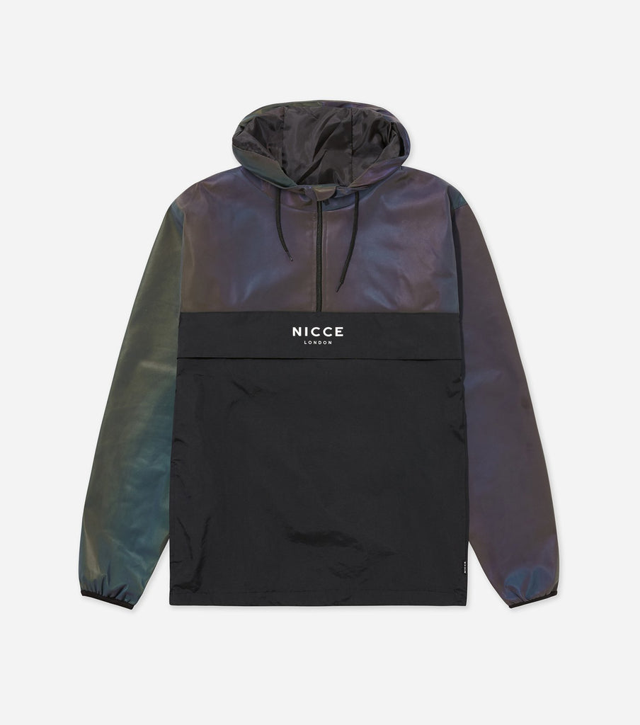 Iridescent reflective cagoule with hood, black panelling and NICCE logo branding.