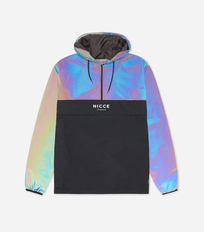 Ruskin cagoule in black and iridescent. Features printed logo, 1/4 zip, two colour panneling drawsting hood and hem.