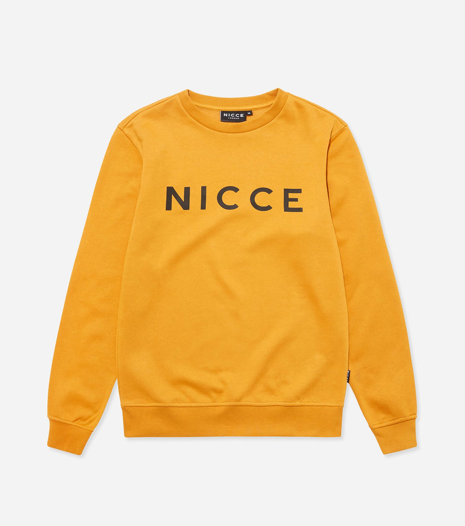 This golden yellow sweatshirt is made from a soft cotton mix and features the classic NICCE logo across the front. A casual, comfortable fit with a round neckline and long sleeves makes this sweatshirt a great layering piece, essential for every wardrobe.